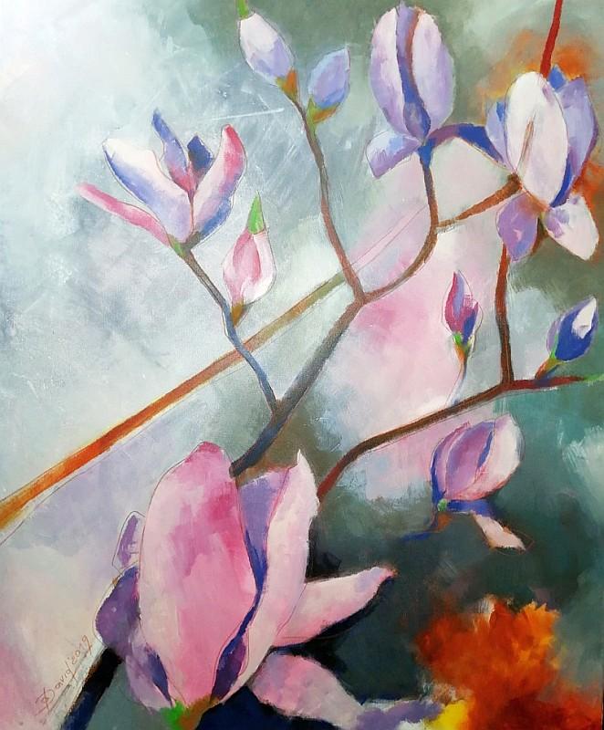 Florales Gemälde für Büro, Auftragsmalerei